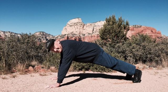 My mom snapped this photo last week in Arizona. Nice form Grandpa!
