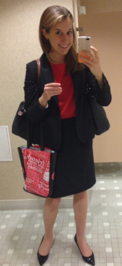 All finance-y in my biz suit back in 2013.Biz trip to California - I was a total health nut, all dressed up as an investor relations professional! AND STRESSED.