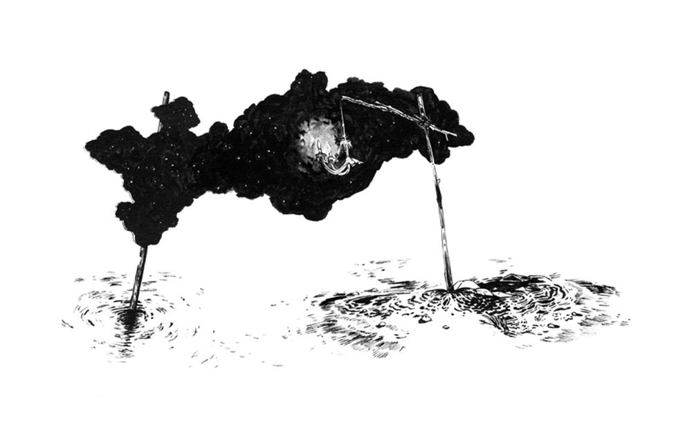 Abdelkader Benchamma  Représentation de matière sombre autour d'un point lumineux , 2011  Encre noire sur papier, 65 x 50 cm Collection Philippe Piguet, Paris