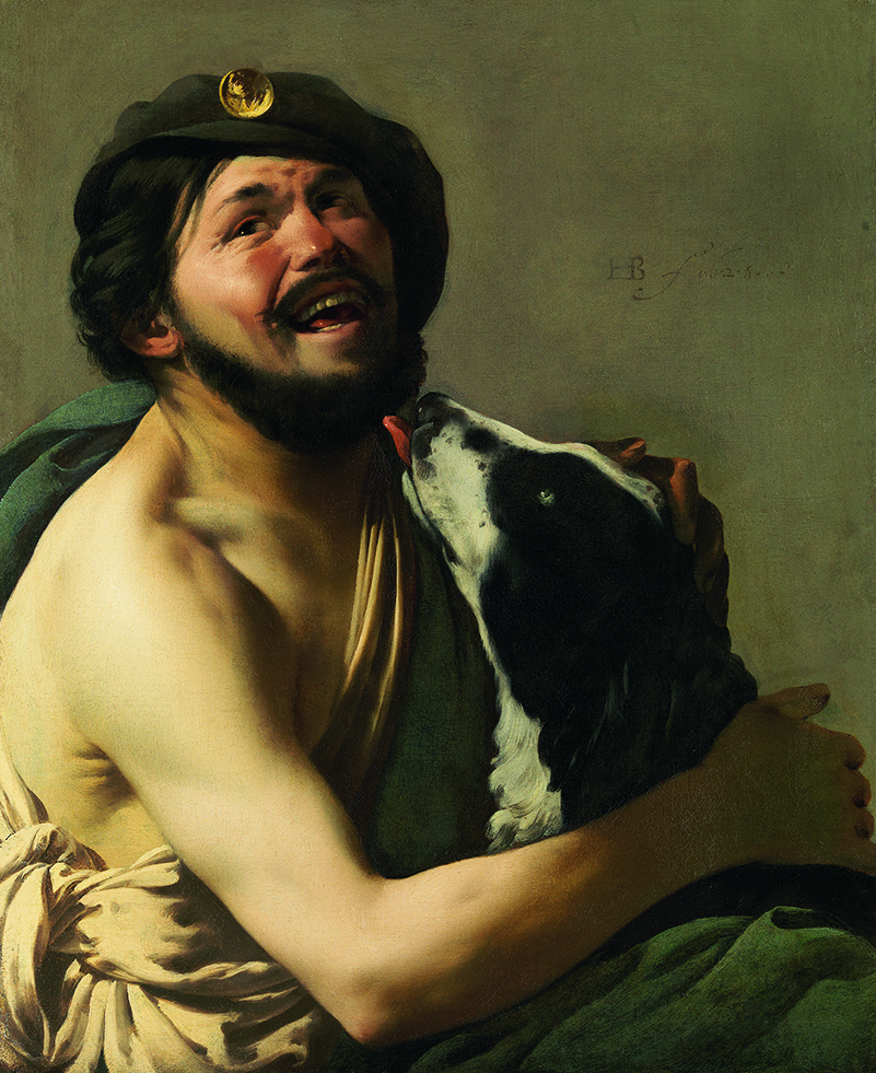 """Bravo""   qui     rit     avec   son   chien  (  1628)    Hendrick Ter Brugghen    © Hohenbuchau Collection / Liechtenstein. The Princely Collections, Vienna."