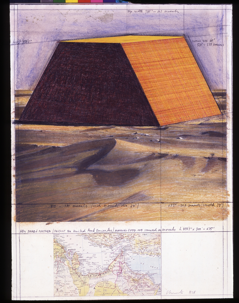 Abu Dhabi Mastaba, Project for the United Arab Emirates  (1978)  Christo & Jeanne Claude  Photo: Eeva-Inkeri   © Christo 2016