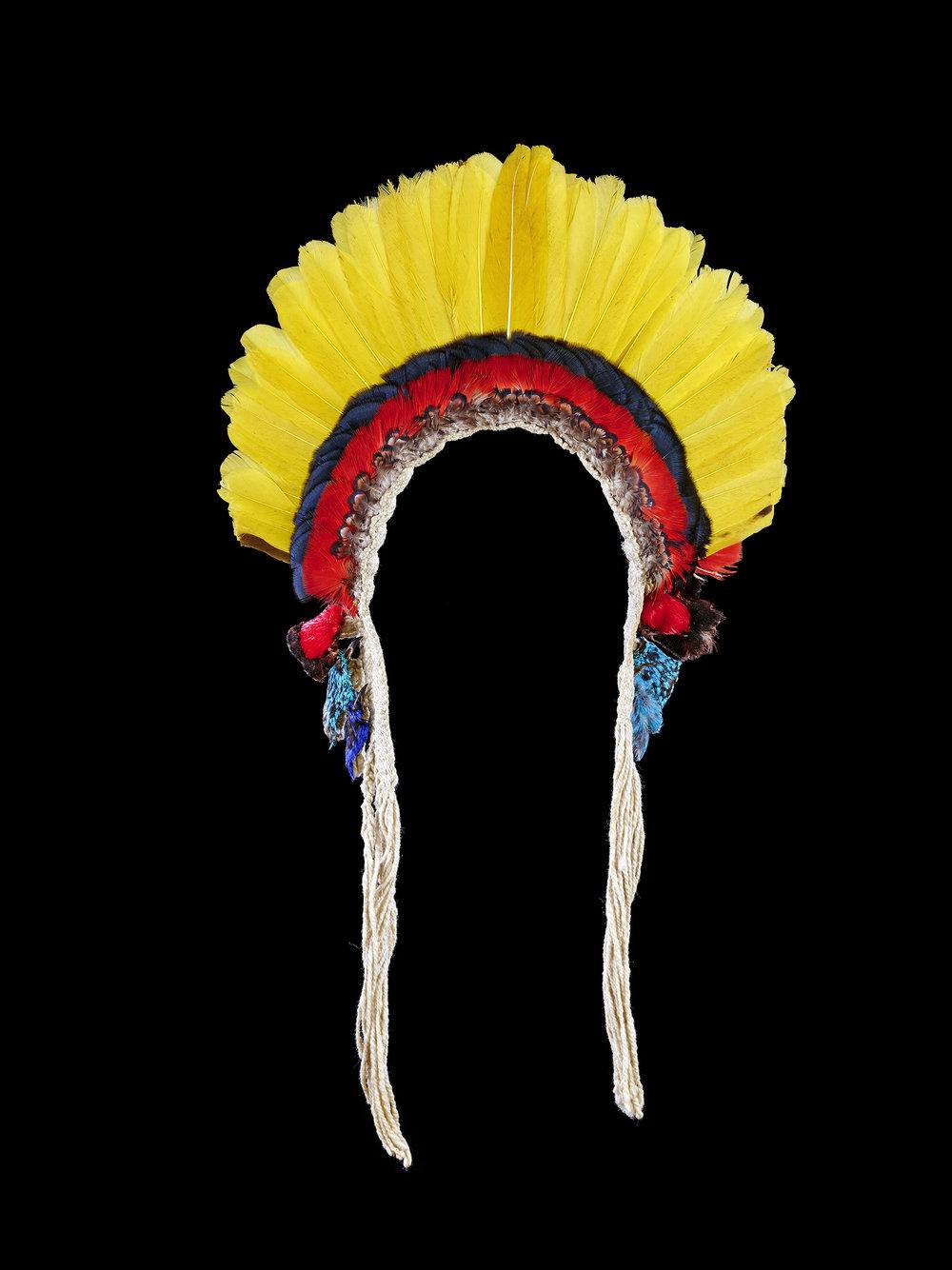 Diadème wirara ou akangatar, parure cérémonielle masculine  Brésil, Rio Gurupi, État du Maranhão, village de Javaruhú  Ka'apor. Milieu du 20e siècle  Photo : ©MEG, J.Watts