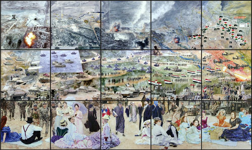Mossul vs Bullrun , 2017  Série  Time Surface   Alain Josseau  240 x 400 cm  Courtoisie Alain Josseau & galerie Claire Gastaud