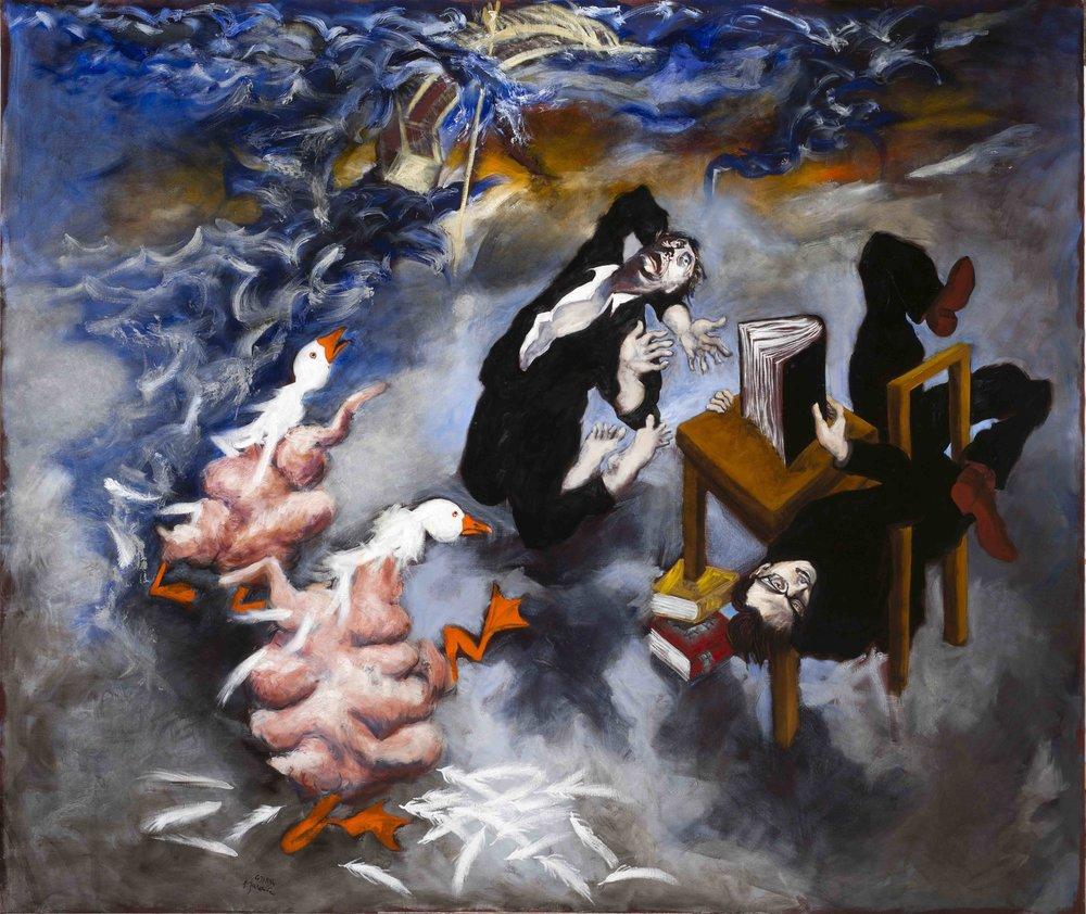 Les étudiants et les oies grasses, 2017  Gérard Garouste  Huile sur toile  Courtesy Galerie Templon, Paris et Bruxelles. © Gérard Garouste. Photo B.Huet-Tutti
