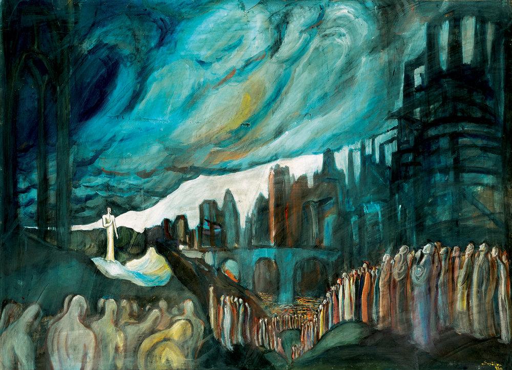 Le Prophète , 1932   Nicolas Schöffer  Tempera sur papier.  Courtesy Janos Haas - Haas Gallery, Budapest. Photo : Haas Gallery, Budapest. © Adagp, Paris - Éléonore de Lavandeyra-Schöffer, 2018