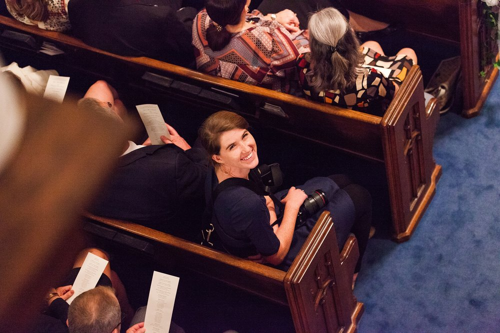 Getting ready for Anna Marie to walk down the isle to Ben. Chase took this from his spot in the balcony!