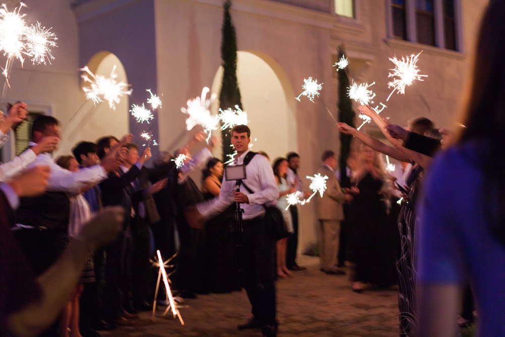 Getting our lighting right for that perfect sparkler exit!