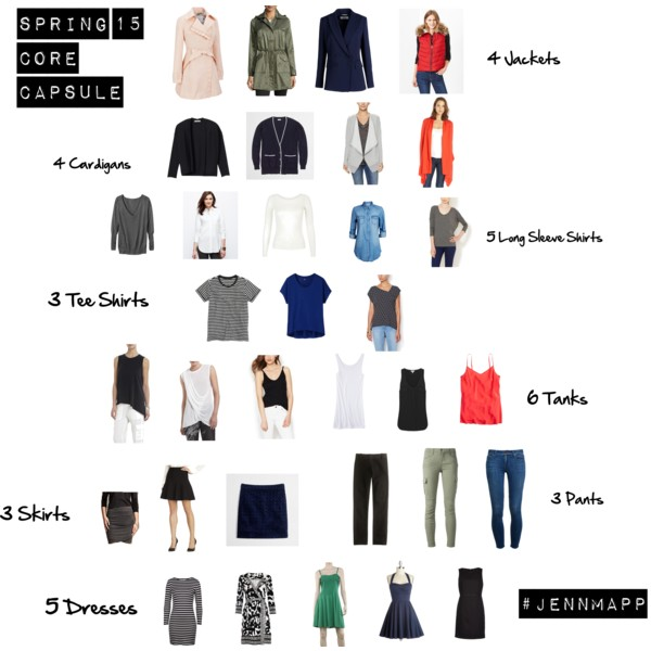 "Spring 2015 Core Capsule Wardrobe  by  jennmapp     After much deliberation my master 33 piece Spring 2015 core wardrobe is complete. There are caveats to this capsule that you must note. March is notorious for rapid cycle weather patterns. As the forecast improves, some items will be swapped for seasonal-appropriate replacements. Like great art, Facebook app updates and noncommittal ex-boyfriends, this relationship is a work in progress. You may spot a tank or pant that is not on the master list. I will share the sub collections at a later date. Each is sparsely populated, containing shoes and accessories, seasonal replacements, licensed sports apparel and backup dupes of the master collection (the baby spit up struggle is real, ya'll).   Happy Spring and Go Hoos!       Details: White + Warren cashmere beanie (2012);  Joie Hooded Military jacket  (2014);  Gap 1969 Deconstructed Western Denim shirt  (2015);  Hooded UVa long sleeve tee shirt , gift from Matt, Mincers, Charlottesville, Va (2015);  AG ""Stevie"" ankle jeans  (2013);  Hunter Boots , gift from sister Emily (2013)     Details:  David Yurman Cable Classics hoop earrings  (2013);  Tiffany & Co. Elsa Peretti Tear Drop necklace  (2001);  David Yurman Color Classics Bangles with Black Onyx  (2013);  David Yurman Cable Classics Bracelet with Titanium and 14K Gold  (2006);  David Yurman Petite Albion Ring with Hematine and Diamonds  (2006);  Loeffler Randall Industry Bag  (2014)"