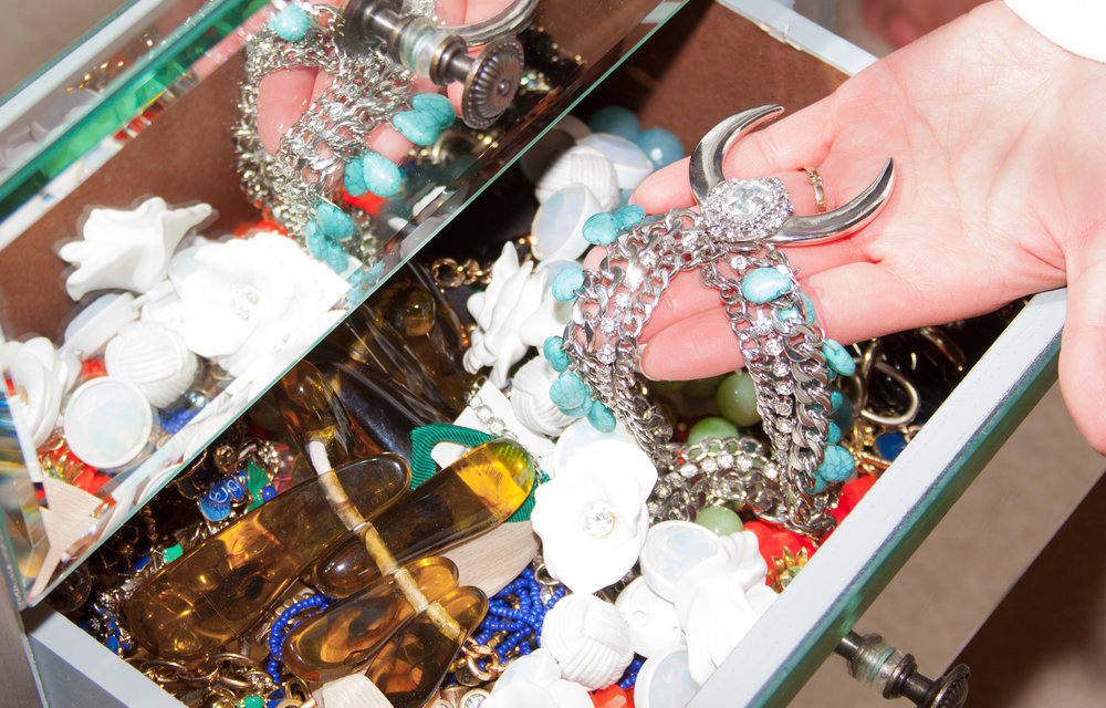 """Pretty right? Never wear it."" - Angie Goff on statement jewelry"