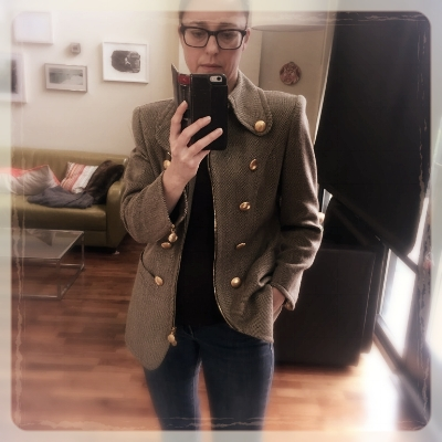A tweed Rena Lange jacket with military details earns Micha complements from old people and hipsters alike