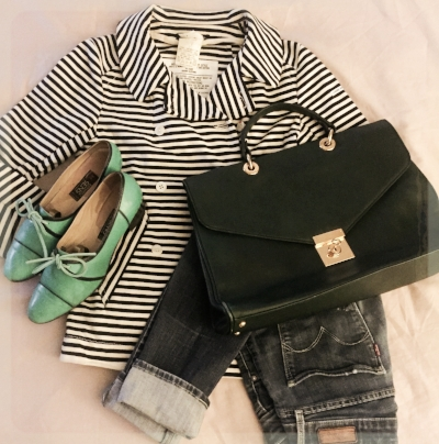 Combining stripes and denim with green (instead of red) was Micha's fave summer look