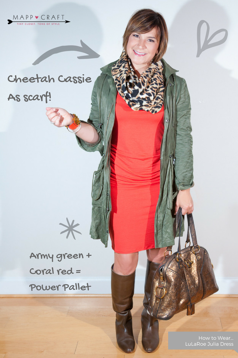 LULAROE KEY PIECE #2: JULIA CORAL GOES WILD WITH CASSIE CHEETAH SKIRT AS SCARF