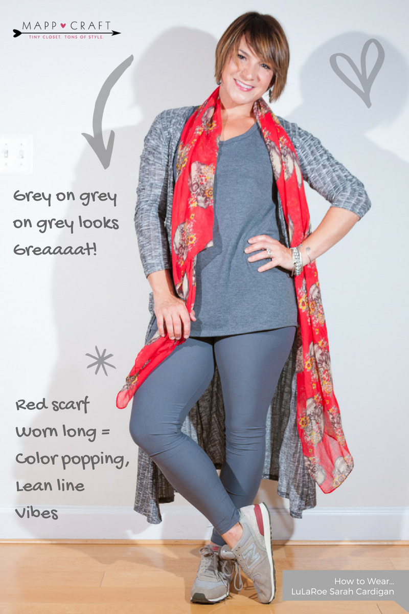 LuLaRoe Key Piece #3 Sarah Cardigan | Grey on Grey and a Cherry Sugar Skull Scarf on Top