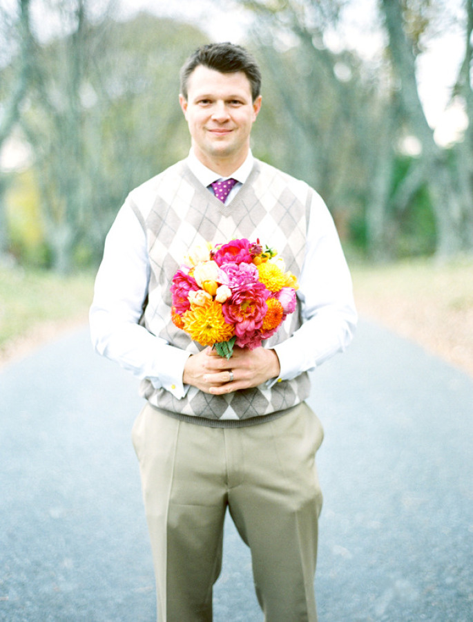 My husband, Matt Bressan with floral by Pat's Floral at Ash Lawn, Charlottesville, VA