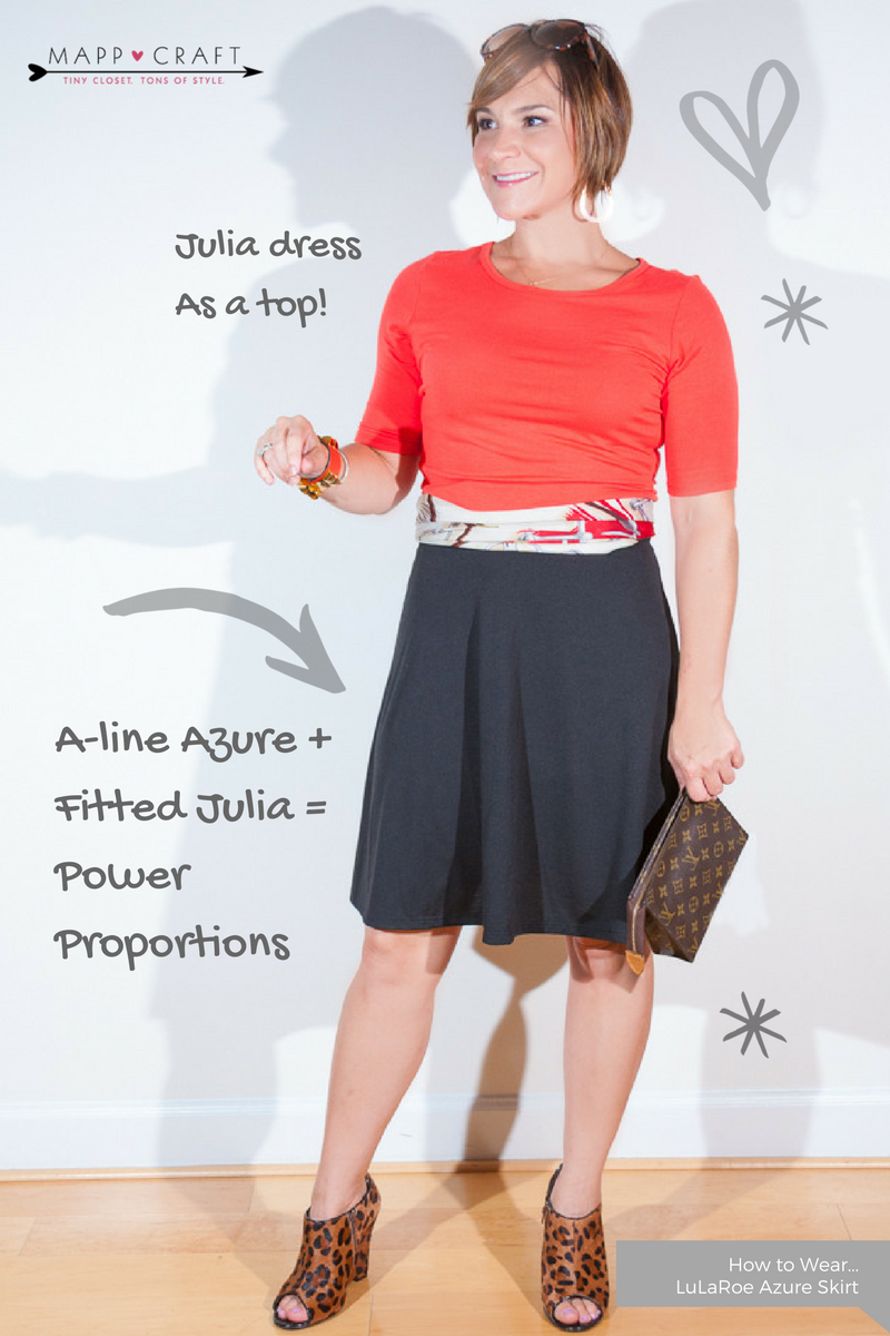 LuLaRoe Key Piece #4: Azure Skirt, Black under Julia Dress as a Top