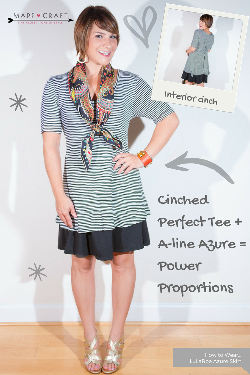 LuLaRoe Key Piece #4: Azure Skirt, Black Under Cinched Perfect Tee