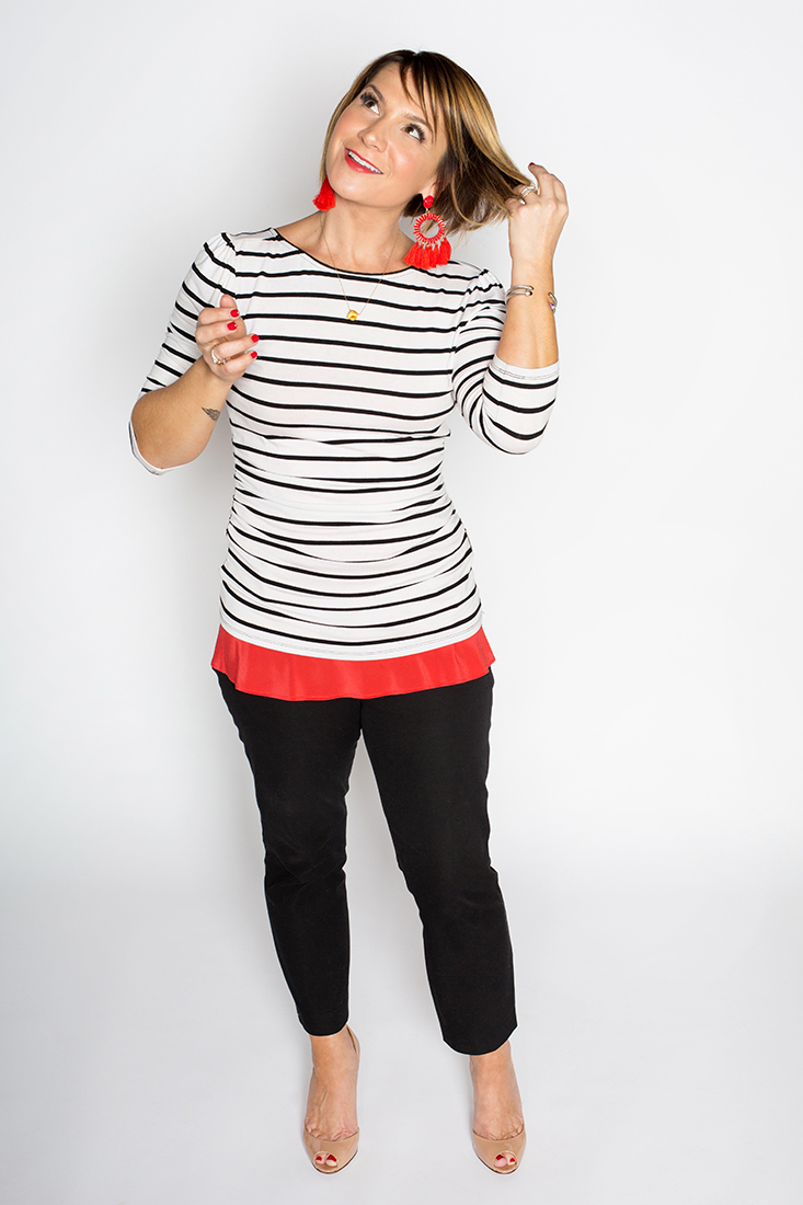 Key Holiday Classics: Striped Tee, Silk Cami, Ankle Pant
