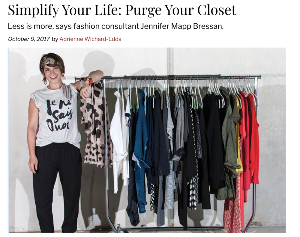 "Arlington Magazine - Mapp Bressan's own closet was ground zero when she finally resolved to streamline her life. She curated a ""capsule"" wardrobe consisting of some 40 articles of clothing and outerwear —plus shoes and accessories that can be worn in a given season, all rigorously edited for fit, quality and comfort."