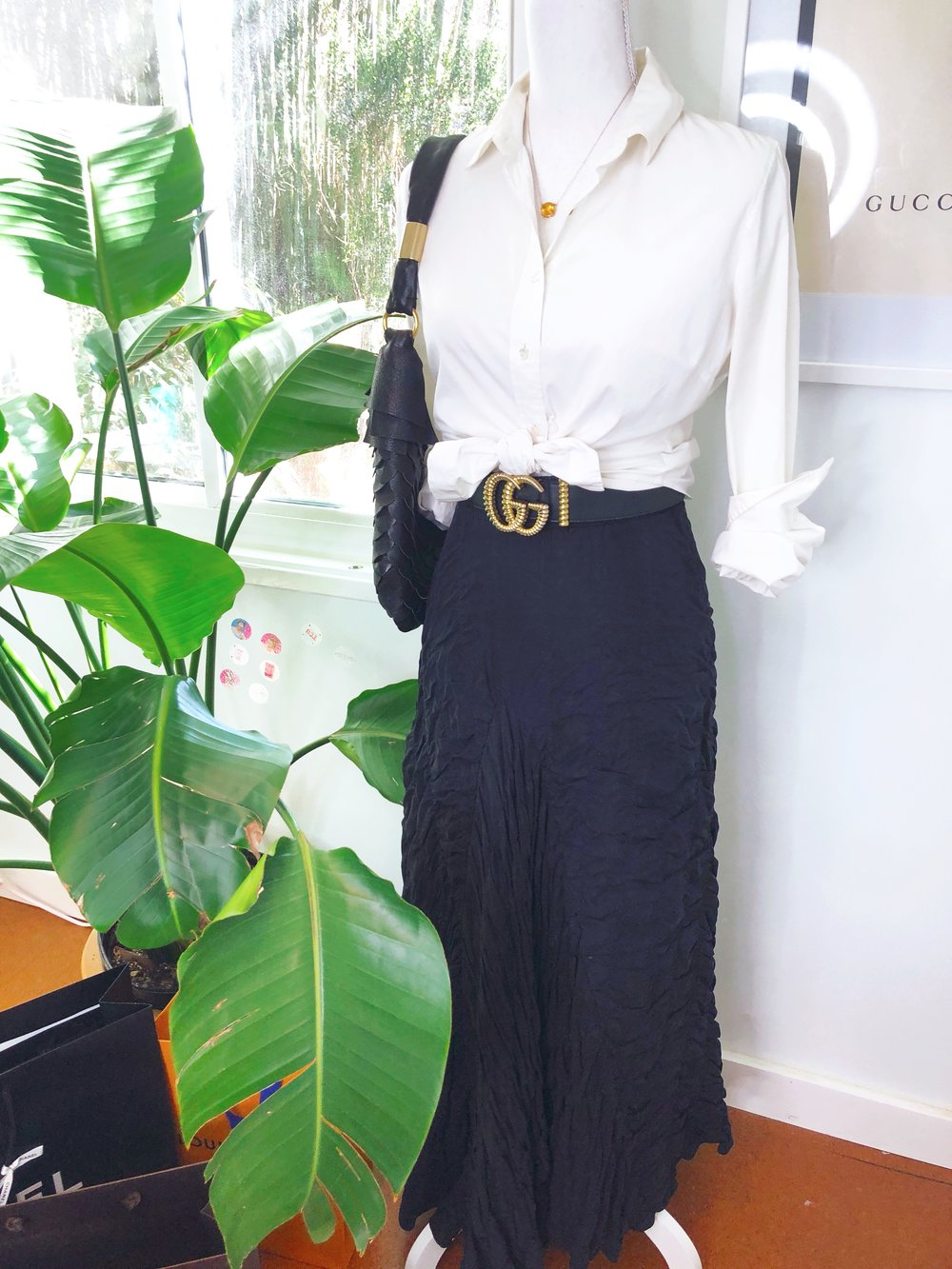 Tiny Closet, Tons of Style | Spring 2019 Trends hiding in my closet: DKNY silk maxi skirt, J.Crew white button down blouse, Gucci belt