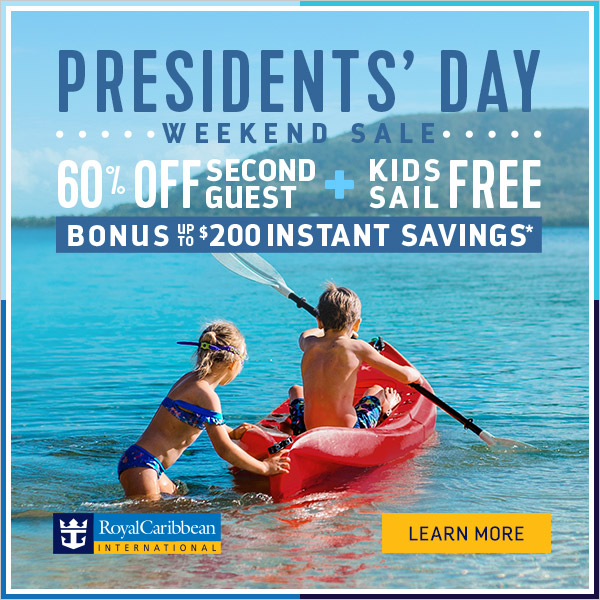 OFFER DETAILS    Presidents' Day Weekend Sale    Booking Window:  February 14 – 18, 2019   Sailing Window:  All sailings departing on or after March 14, 2019   Offer details:  Up to $200 instant savings  Sailing Length Inside/Ocean View Balcony Deluxe  5 Nights and less $25 $75 $75  6 Nights and more $50 $100 $200  7 Nights and more balcony bookings receive a Specialty Dinner for 2.