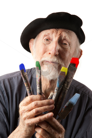 cutcaster-photo-100876780-Senior-artist-with-beret-and-brushes.jpg