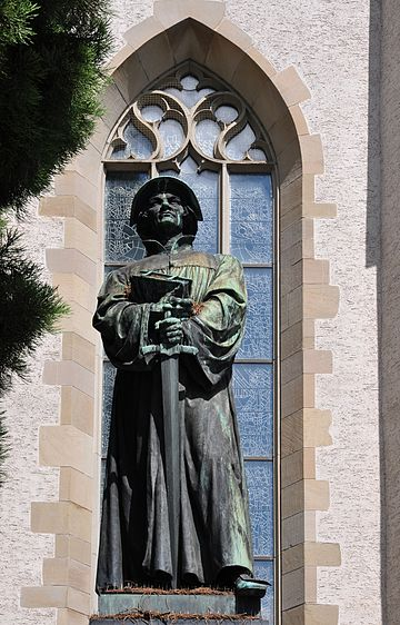 Statue of Zwingli in front of the Wasserkirche in Zurich