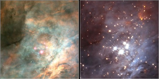 This Hubble Space Telescope image shows the stars of the Trapezium in visible light (left) and infrared light (right).