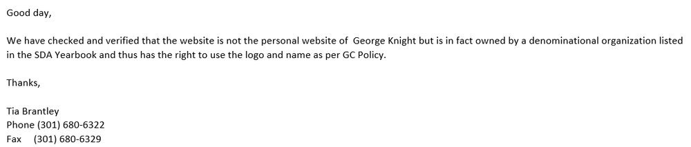 Email response from the GC