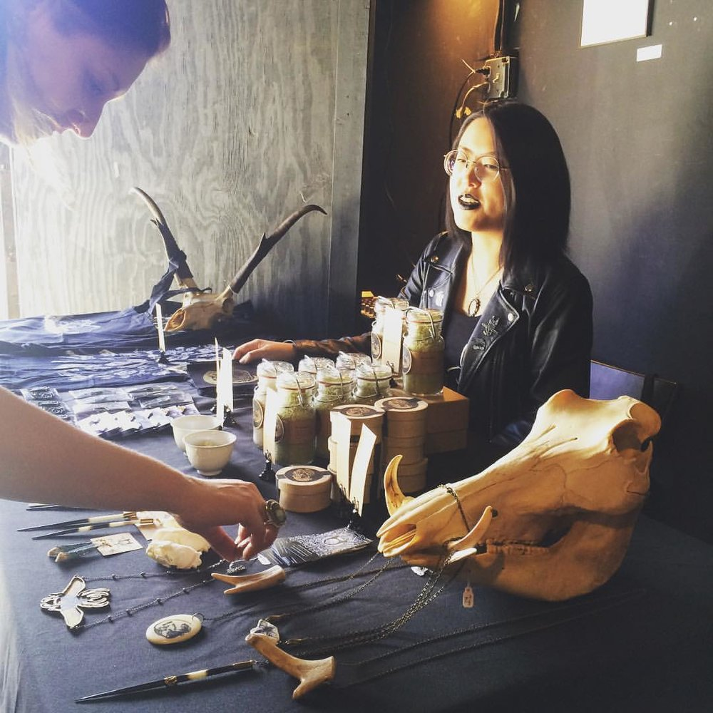 An image from a market hosted by Catland, where customers can buy occult accessories.