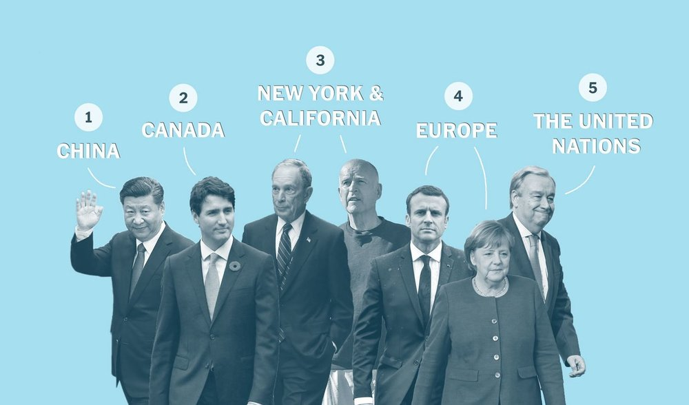 The New York Times lists five possible entities who will take the place of the US in the Climate Change agenda.