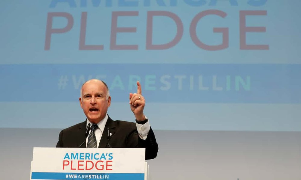 California Governor Jerry Brown speaks at the US Climate Action Center during the UN Climate Change Conference COP23 in Bonn, Germany, 11 November 2017