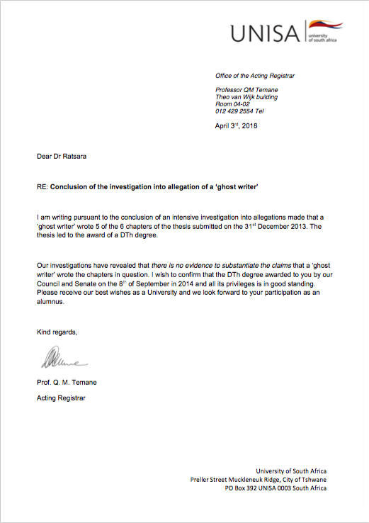 A copy of the letter sent to Paul Ratsara from UNISA.