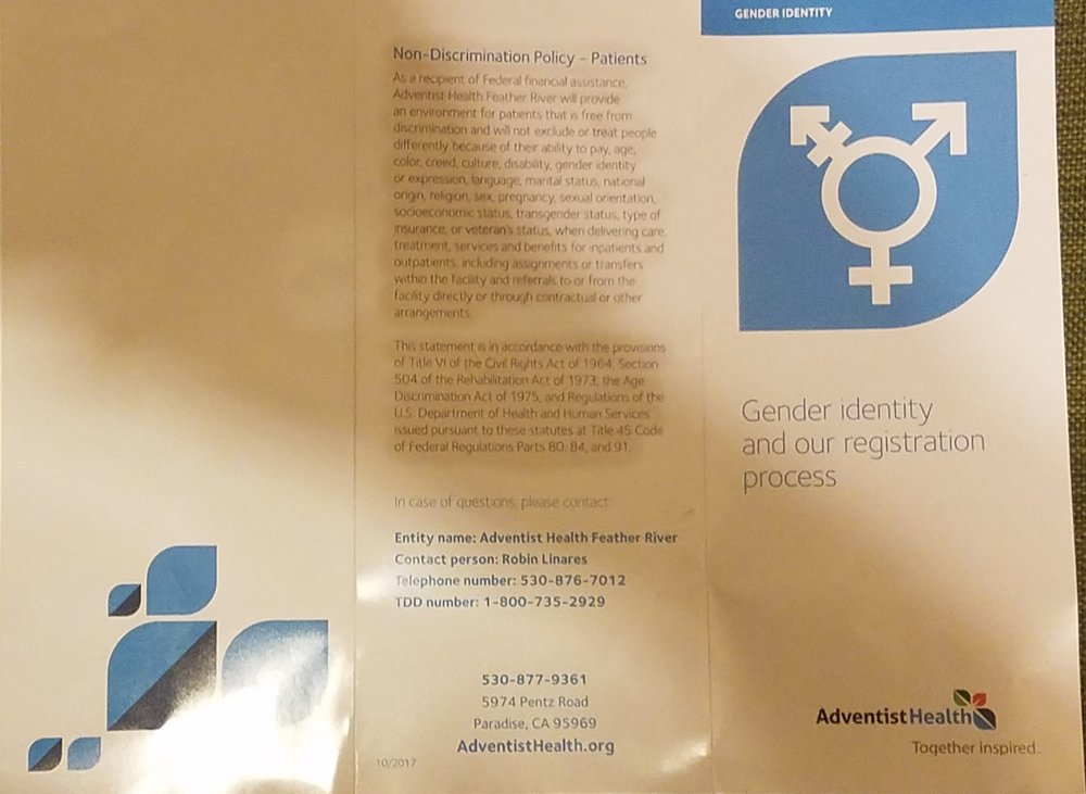 Back of Adventist Health Brochure on Gender Identity.