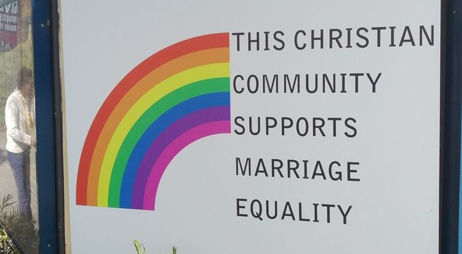 A sign supporting marriage equality at the Church of the Trinity Uniting Church in Adelaide.