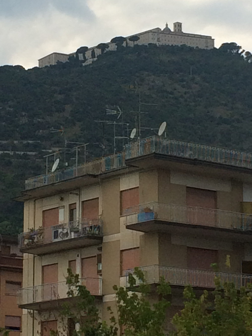 Monte Cassino perched on the mountain