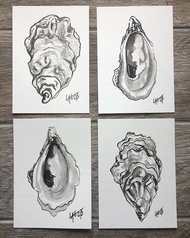 Classic simplicity of an ink painting. These 5x7 black and white oysters on paper would make a statement no doubt. Maybe with an oversized mat and thin frame?!? 😍🤩 available.