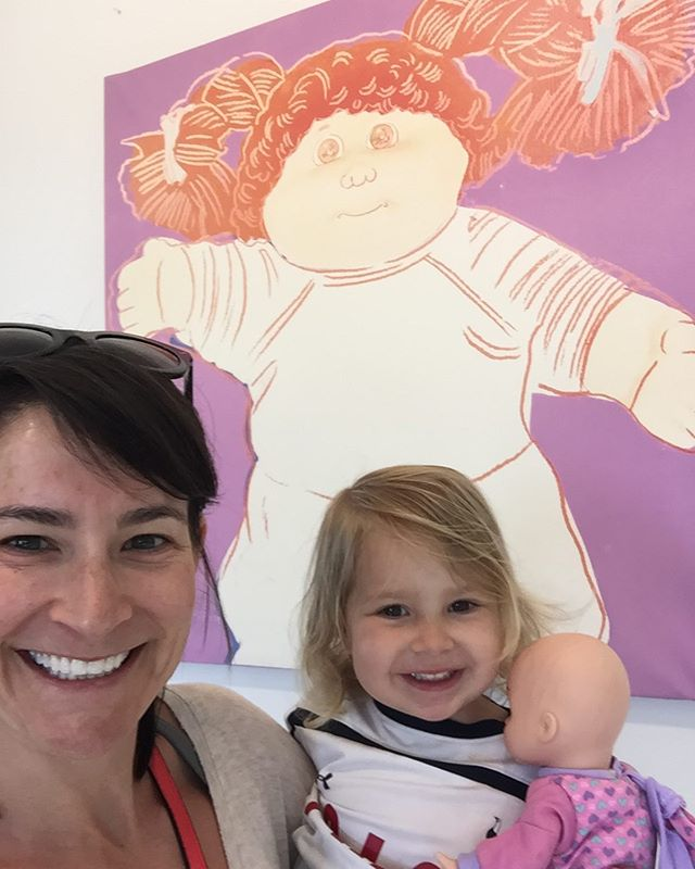 """Happy birthday Alice! This is 3! Posing with Andy Warhol's """"Cabbage Patch Girl"""" 1985"""
