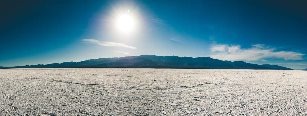The Badwater Basin salt flats.(10 frame stitch. Panasonic LX100)
