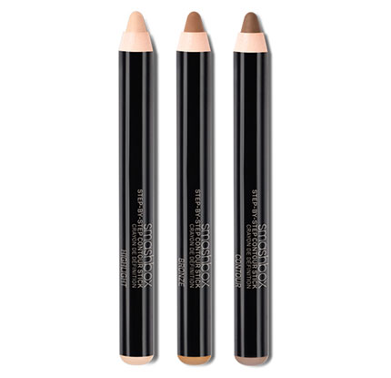 Scribble the highlighter on the high-points, the contour into the hollows and the bronze in between the two. Blend until the differentiation is completely seamless.