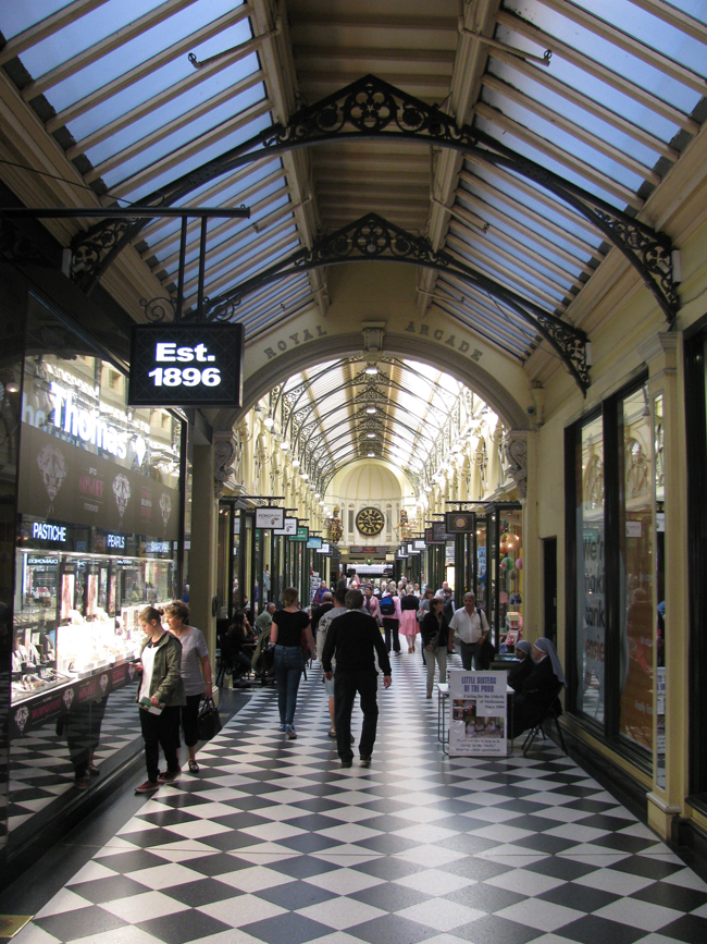 One of the many arcades and laneways in Melbourne. This is the Royal Arcade and by far, the prettiest