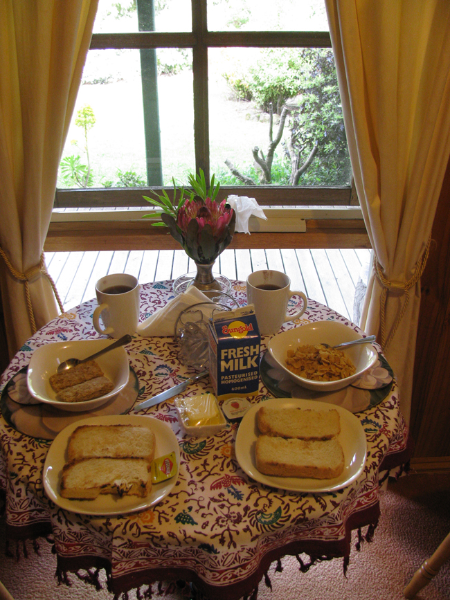 Our breakfast in our pretty B&B, Blue Johanna Cottages in Johanna, VIC. Fresh bread every morning! Wish we could have stayed longer