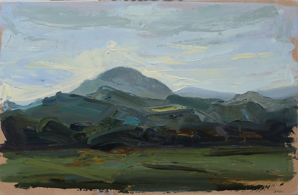 "Caradoc lll. Shropshire Hills. 12"" x 10"" Oil on board. 2016. Sold"
