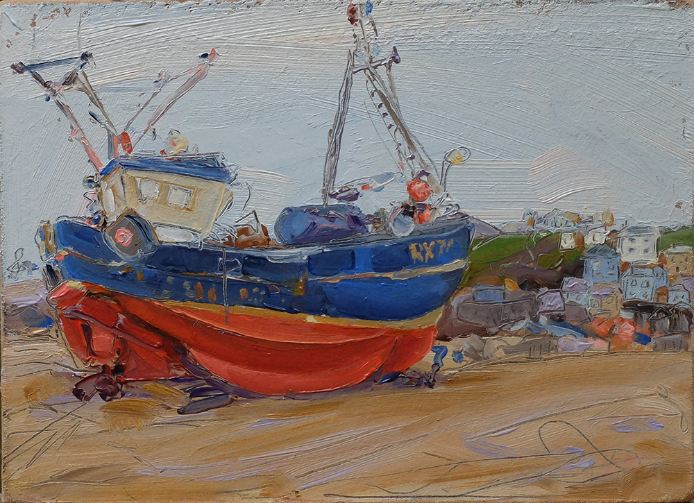 "Red & Blue Boat, Hastings beach. 8"" x 7"" Oil on board. 2016"
