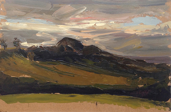 "Shropshire Hills. 12"" x 10"" Oil on board."