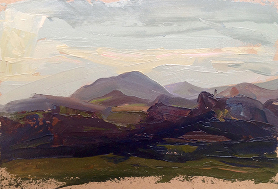 "Caradoc ll. Shropshire Hills 9"" x 7"" Oil on board.2016. Sold"