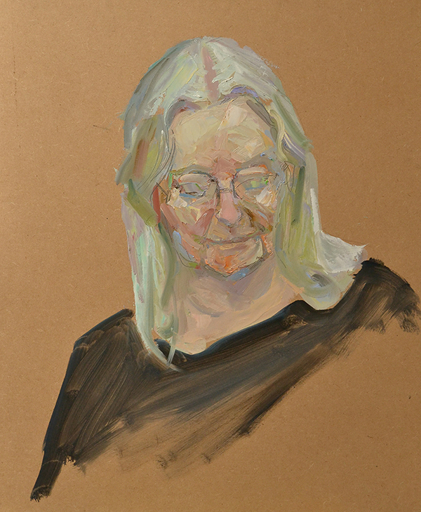 "Gillian Clarke. 19"" x 24"" Oil on board"
