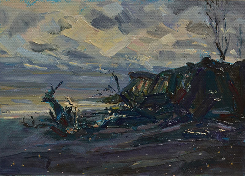 "Covehithe, Suffolk 2018 7"" x 5"" oil on canvas board"