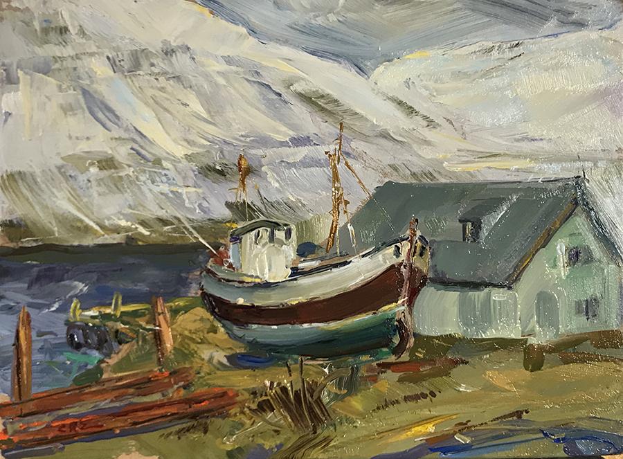 Fishing boat, Iceland 30cm x 22cm Oil on board 2019