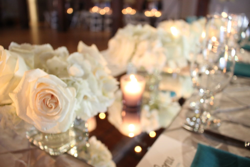 Teal & Grey Weddings Table Centerpieces