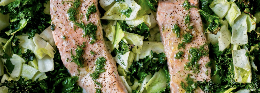One Pan Salmon, Kale & Cabbage